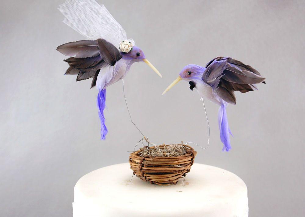 Purple Hummingbird Wedding Cake Topper: Unique, Rustic Bride & Groom Love Birds