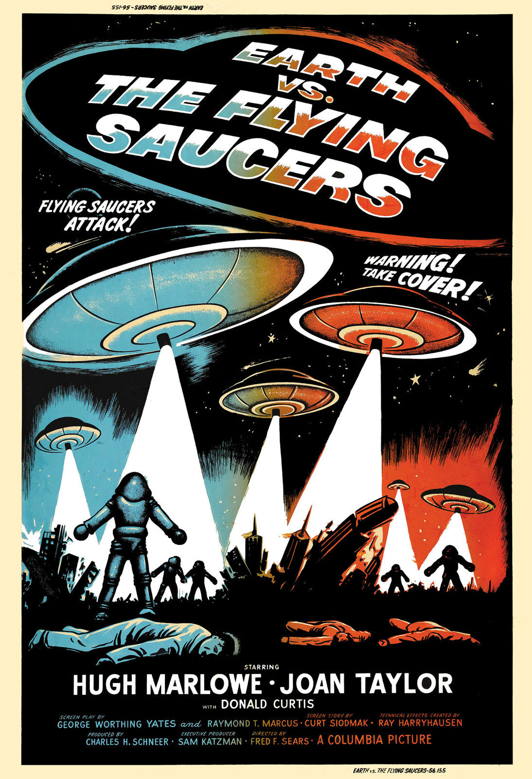 VINTAGE FLYING SAUCERS UFO MOVIE POSTER A4 PRINT
