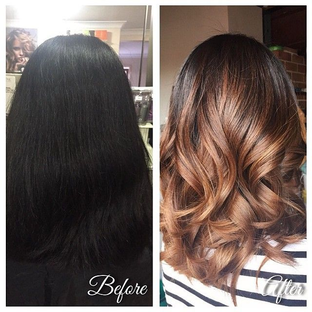 ... Before and after - added warmth and depth via balayage highlights.