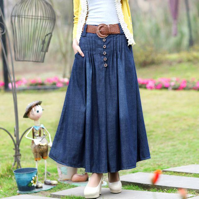 a54c0f1f1 Korean Charm Lady Casual Denim Skirts 5 Colors New Loose Long Design ...
