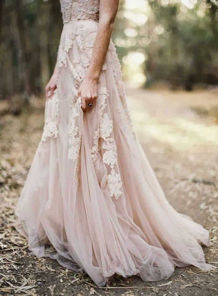 A Blush Colored Wedding Dress With Gorgeous Lace Details Is So Right For An Outdoor Ceremony Bohemian Wedding Dresses Blush Wedding Dress Wedding Dresses