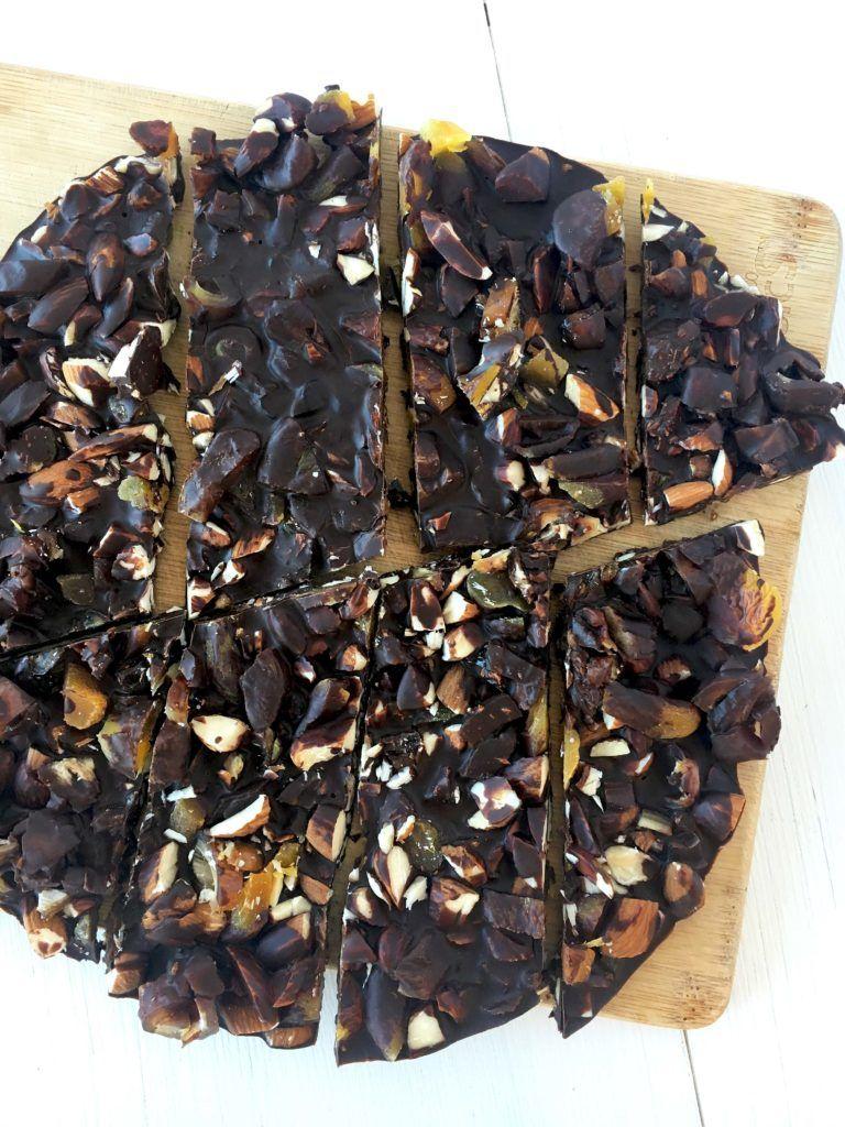 dark chocolate trail mix bark (naturally sweet