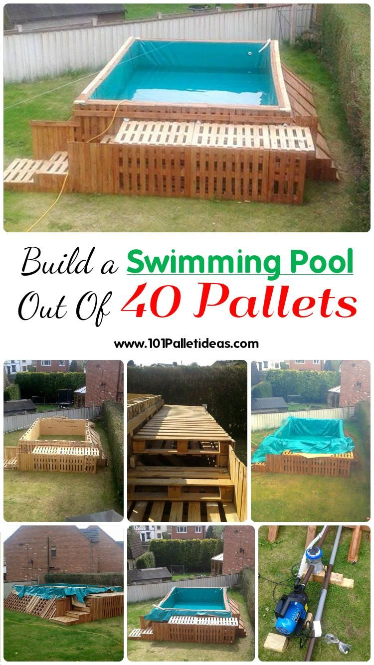 Build A Swimming Pool Out Of 40 Pallets Diy Swimming Pool Building A Swimming Pool Pallet Pool