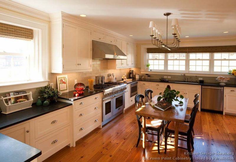 Kitchen Design White Cabinets Wood Floor traditional white kitchen cabinets© crown point cabinetry (crown