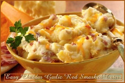 Easy Cheddar Garlic Red Smashed Taters  http://www.momspantrykitchen.com/easy-cheddar-garlic-red-smashed-taters.html
