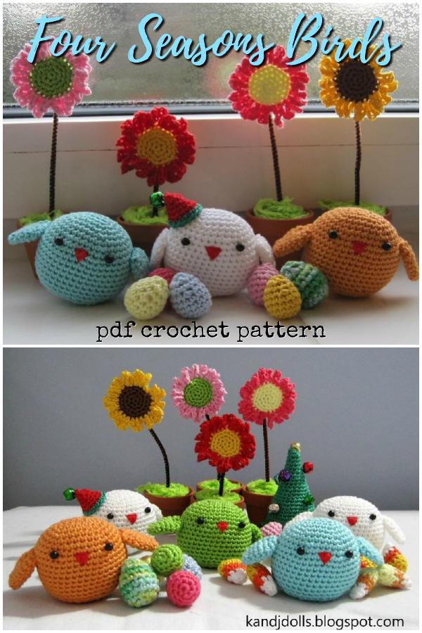 little birds amigurumi pattern set pattern by mohu - Ravelry | 900x600