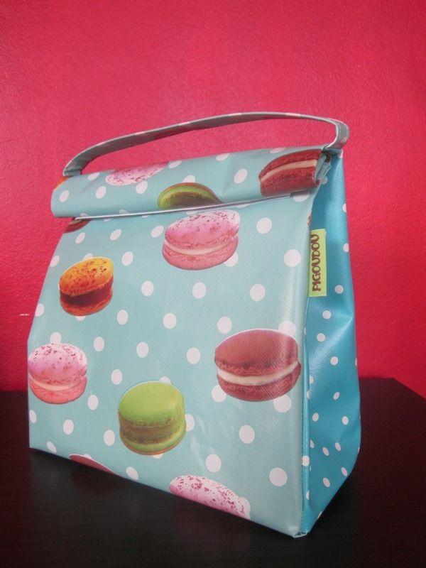 lunch bag sac pour repas sac go ter en toile cir e macarons multicolors cuisine et. Black Bedroom Furniture Sets. Home Design Ideas