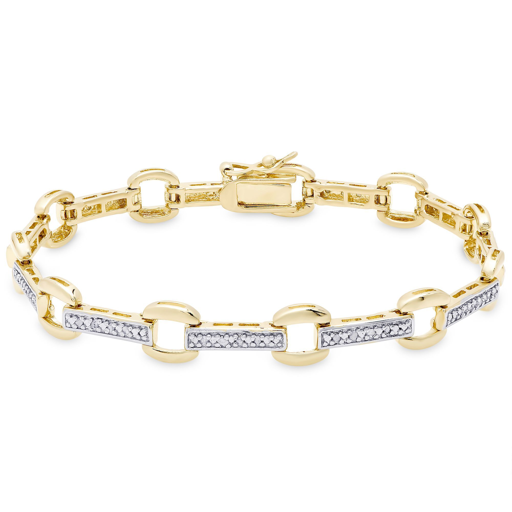 Finesque gold over sterling silver diamond accent square link