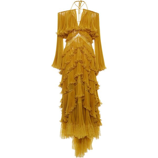 Roberto Cavalli Tiered Off-The-Shoulder Gown (725 190 UAH) ❤ liked ...