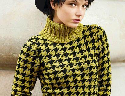 Схема и описание вязания на спицах свитера с  узором «Гусиная лапка» из журнала «Вязание. Мое любимое хобби» №9/2015