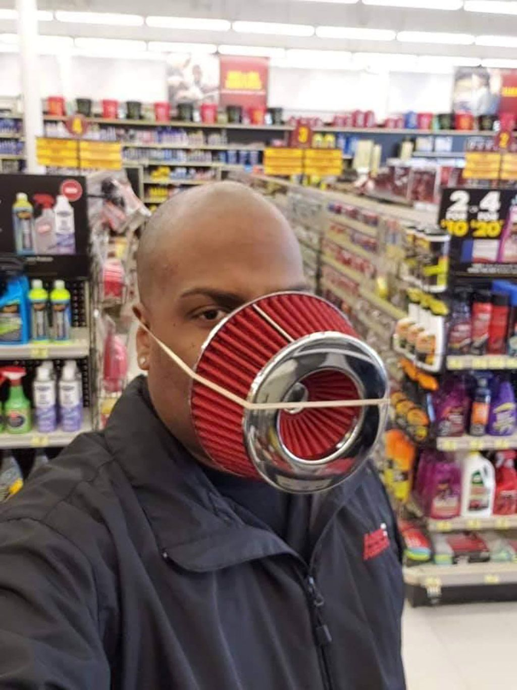 When you need an N95 mask and work at an auto supply store