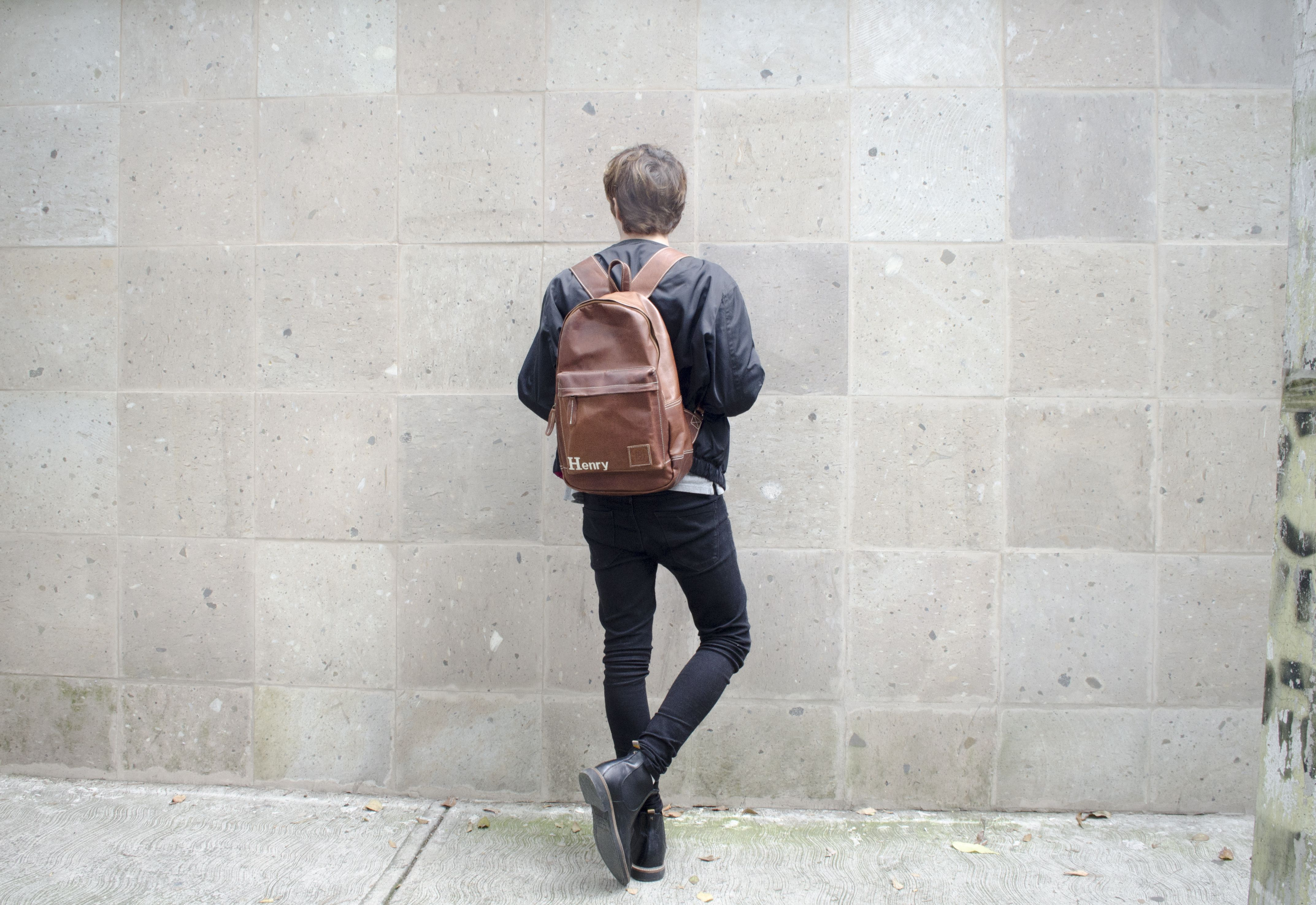 Personalised leather backpack with cream stitching from MAHI Leather. 9f34a967679eb