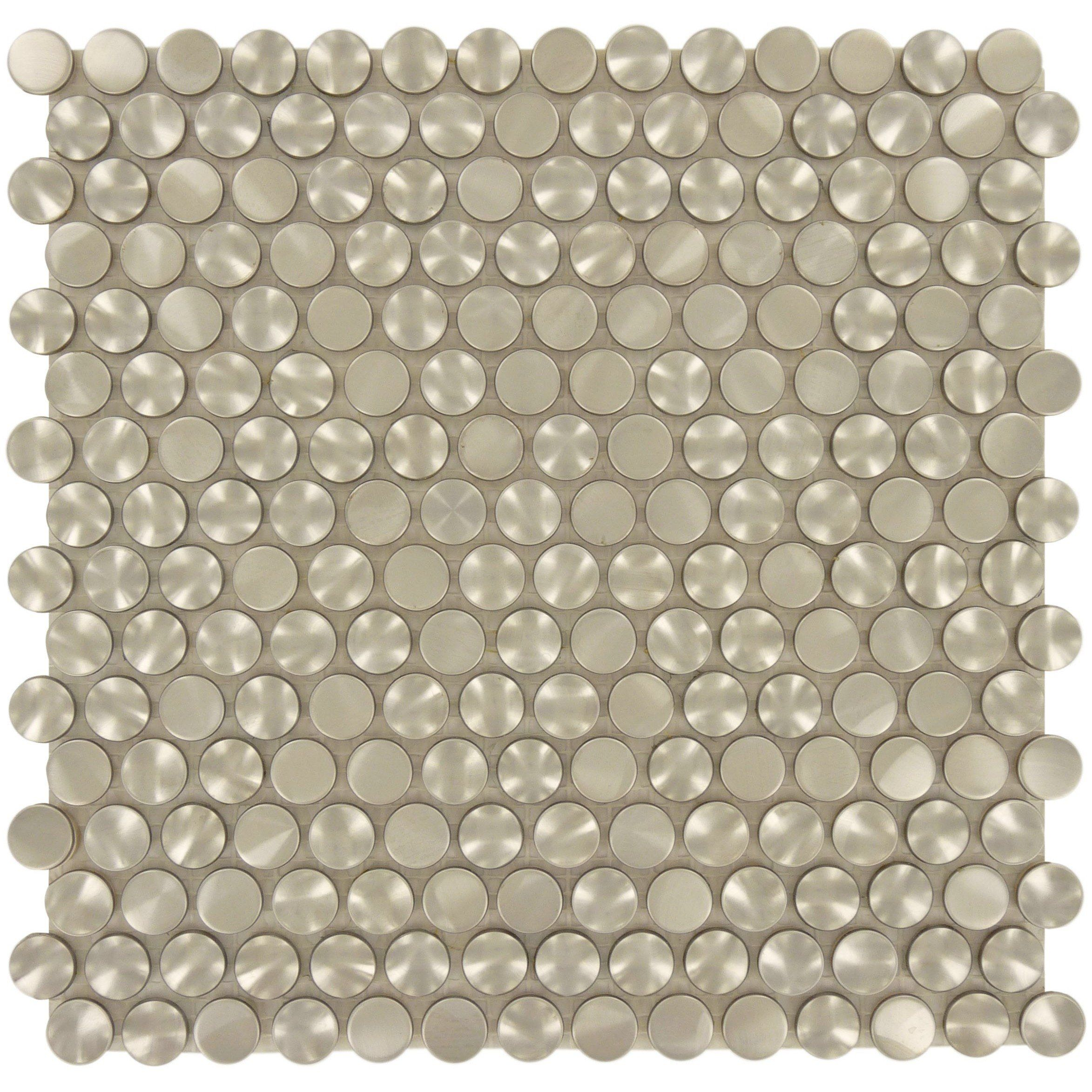 Sheet Size 11 1 2 X 11 1 2 Tile Size 5 8 Diameter Tile Thickness 1 4 Nominal Grout Joints 1 8 Sheet Mount Mesh Backed Steel Stainless Steel Tiles