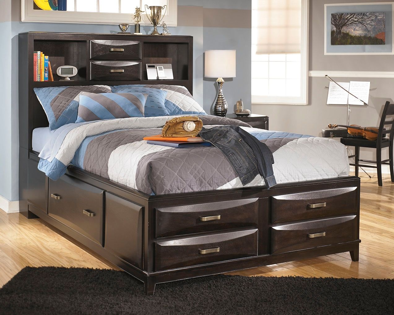 Kira Full Storage Bed With 7 Drawers Full Bed With Storage Bed
