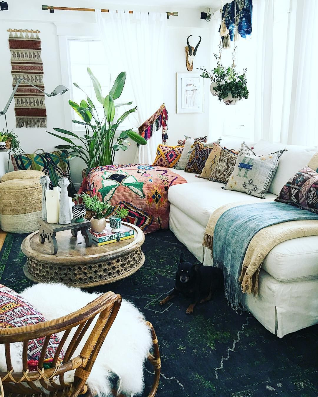You Can Add Rugs Not Only On Floors But On Sofas Too That 39 S A Great Way To Bring Add Bohemian Style Living Room Bohemian Living Rooms Bohemian Living Room