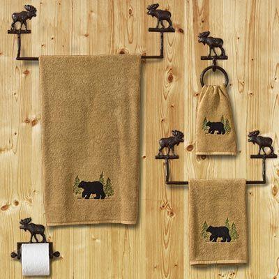 Cabin Moose Bathroom Hardware Set Bathroom Hardware Set Moose Decor Bathroom Decor