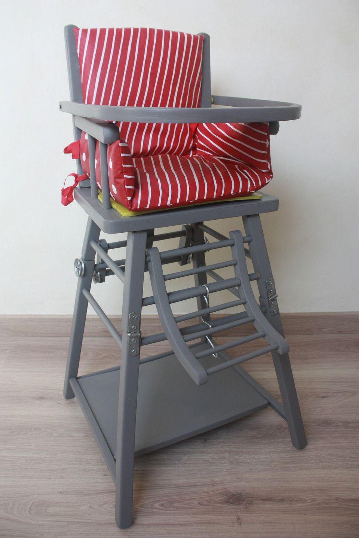 Chaise haute en bois vintage pour poup e vintage et b b - Chaise haute bois bebe ...