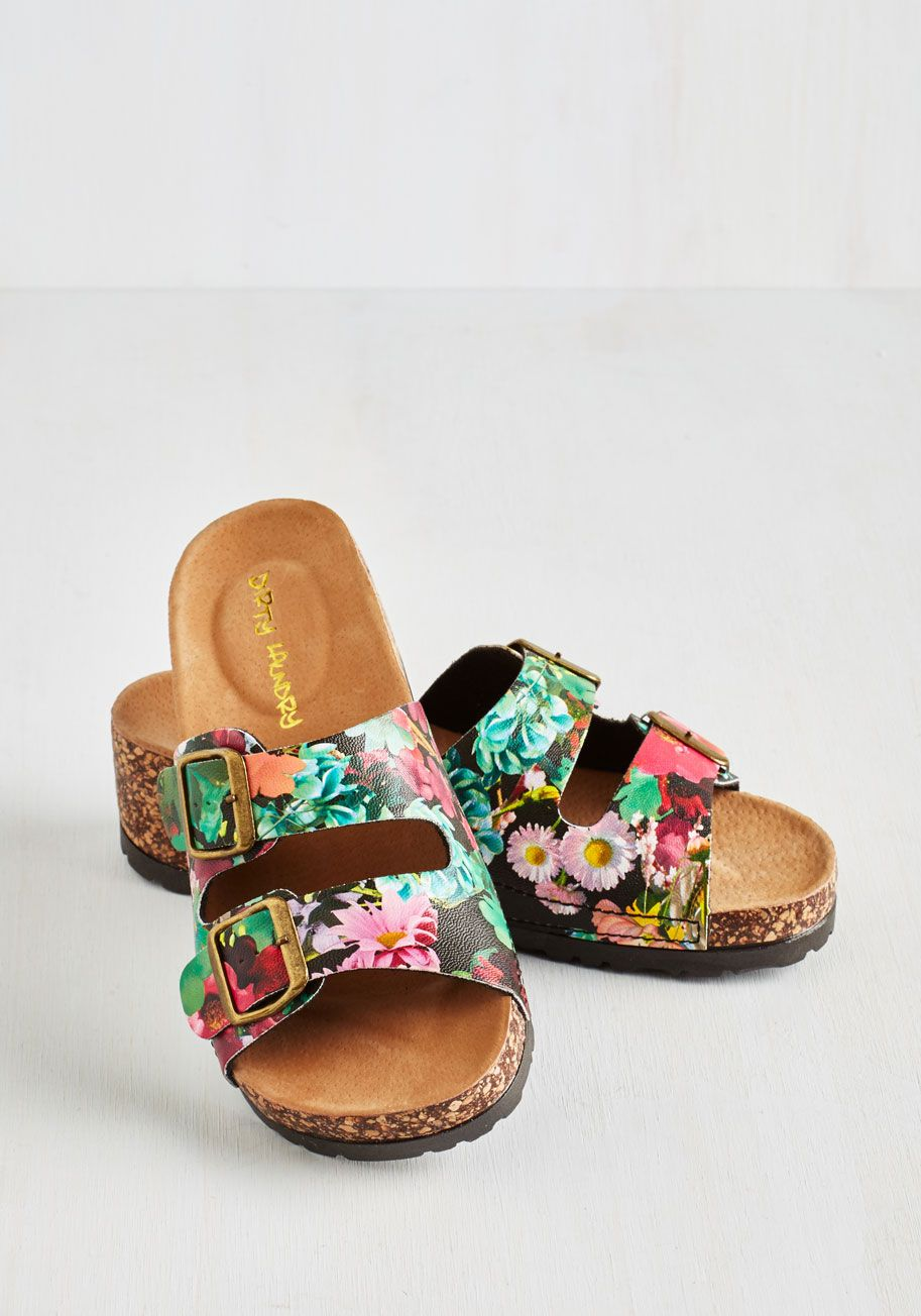 b4bfed99d15 At Your Deck and Call Sandals in Dusk. Slip into these black floral sandals  and chill haute on the porch!  multi  modcloth
