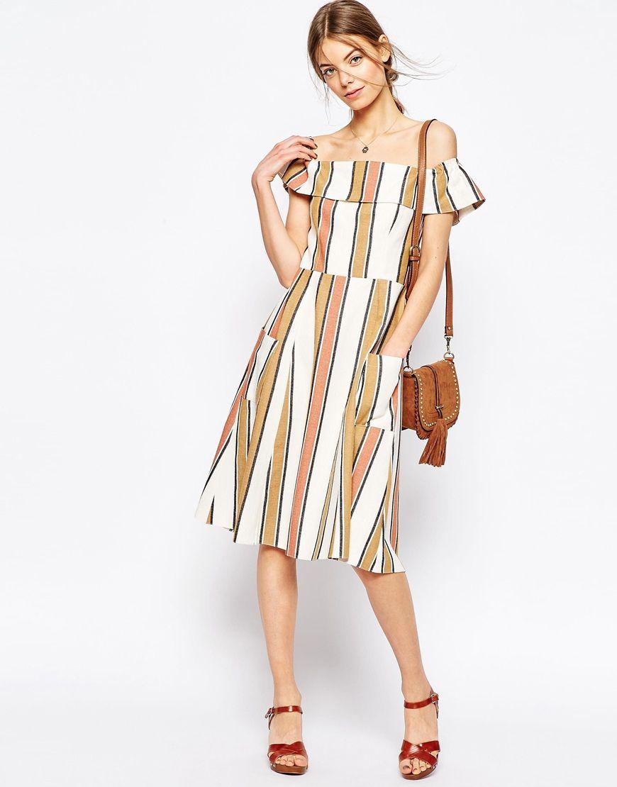 Image 4 of ASOS Off Shoulder Stripe Sundress in Natural Fibre | My ...