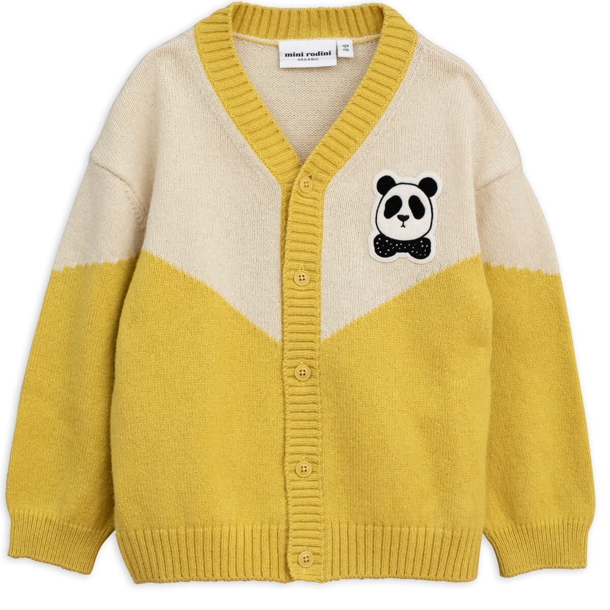 8663707a4 Panda Knitted Cardigan in Yellow by Mini Rodini – Junior Edition ...