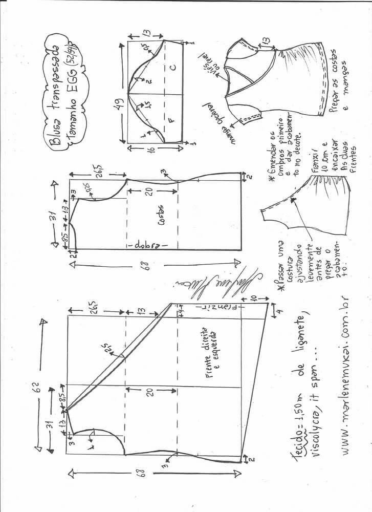 Patrón Blusa escote cruzado con o sin manga | Pattern Making ...