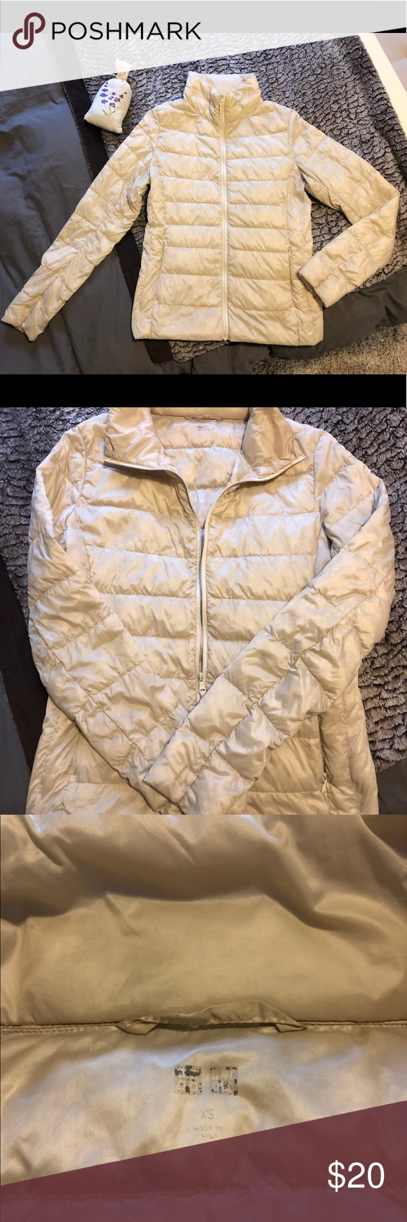 Uniqlo off White ultra compact down zip up jacket Great