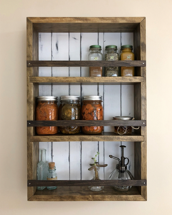 Handmade Solid Wood Spice Rack Kitchen Shelves For Wall Or Counter Top With Back Panels And Retainer S Wood Spice Rack Rustic Kitchen Countertop Spice Rack