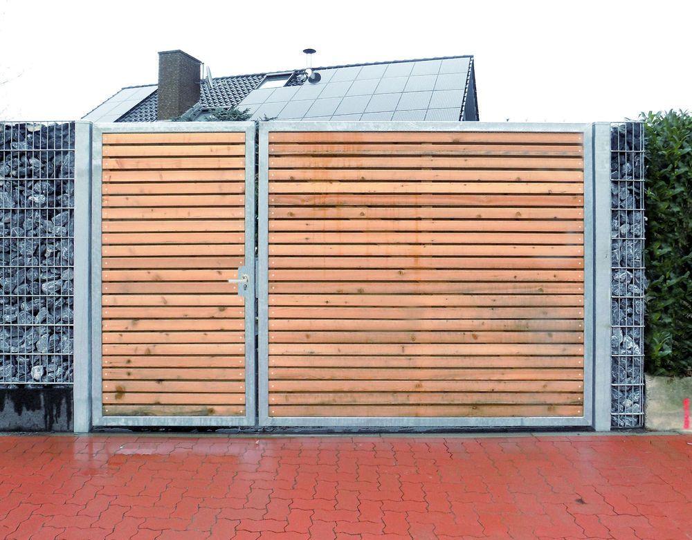 Einfahrtstor 300 x 180cm 2-flügelig Asymmetrisch Verzinkt + Holz Tor ...