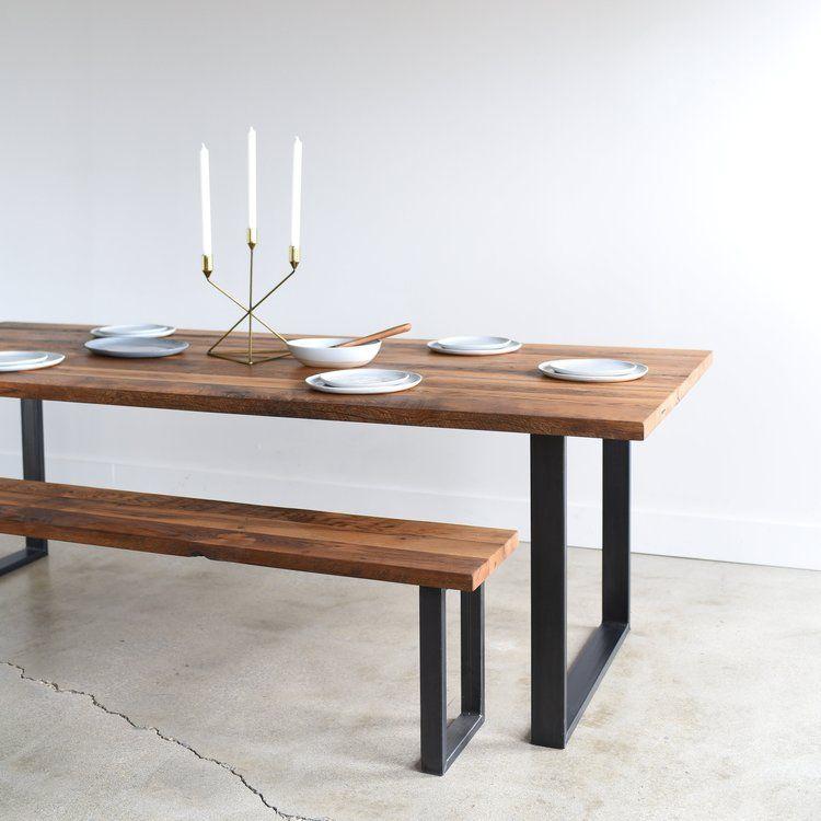 Industrial Modern Dining Table U Shaped Metal Legs Modern