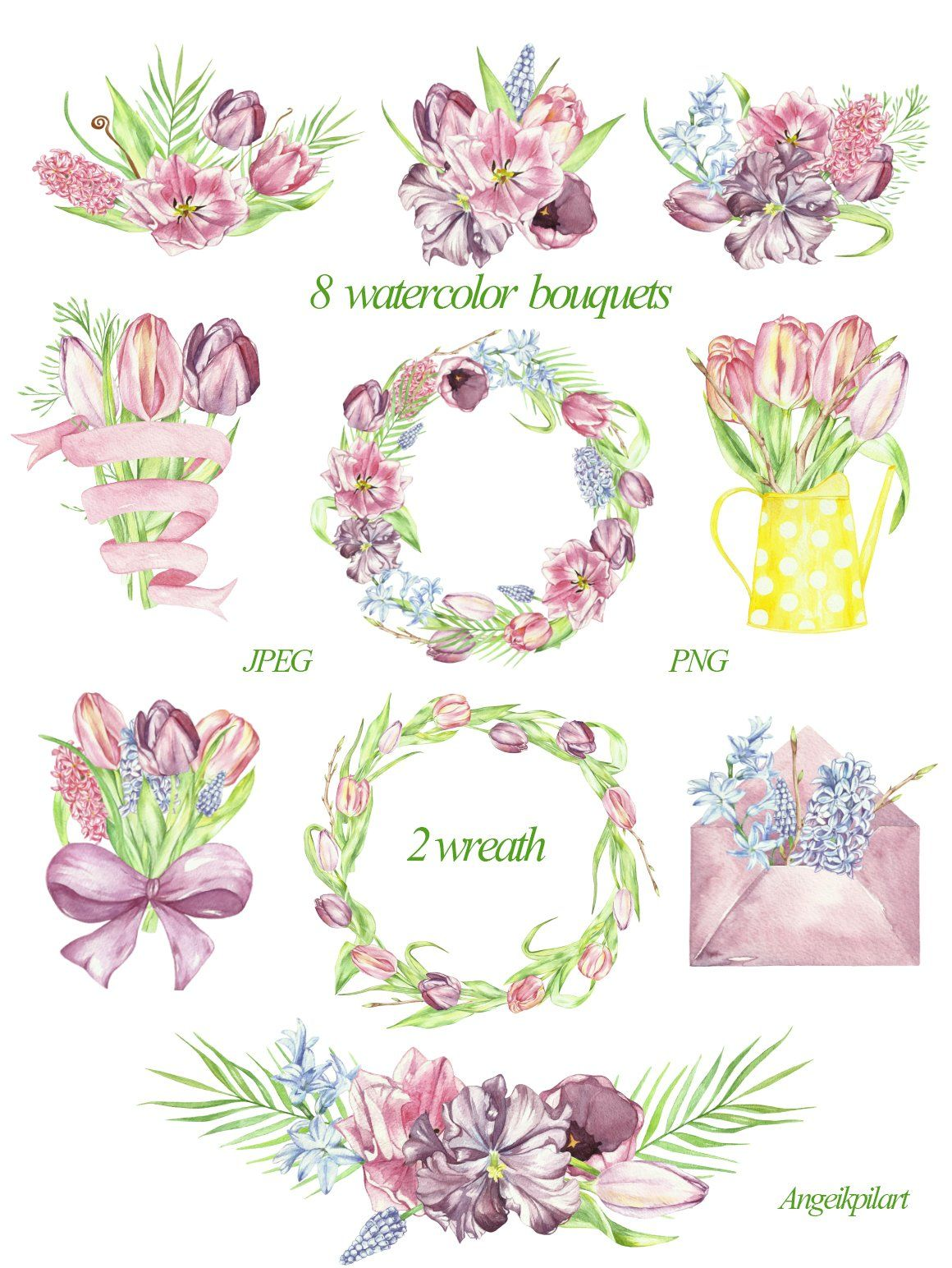 spring watercolor bouquets, wreath by angelikpilart on @creativemarket