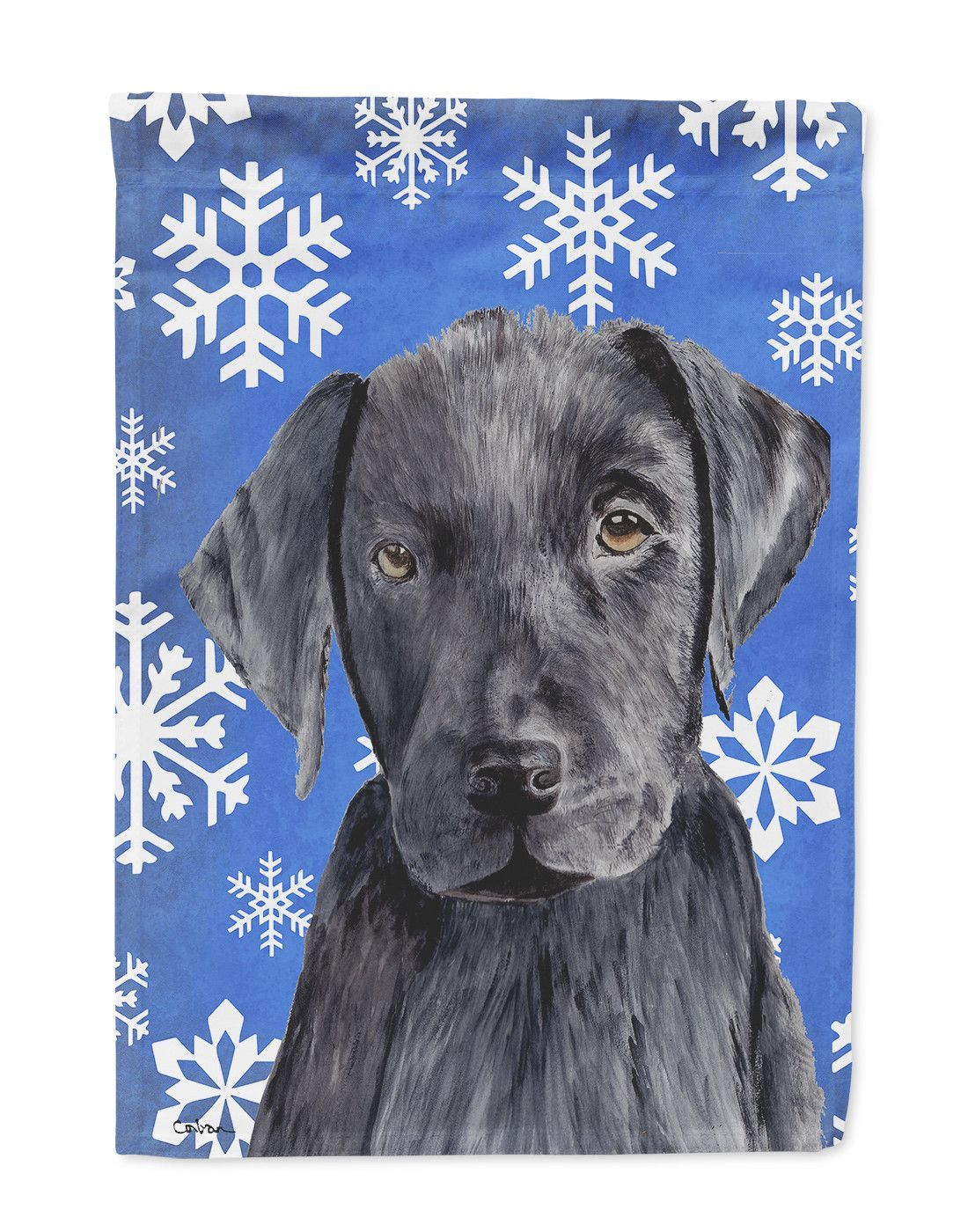 Labrador Winter Snowflakes Holiday Flag Garden Size
