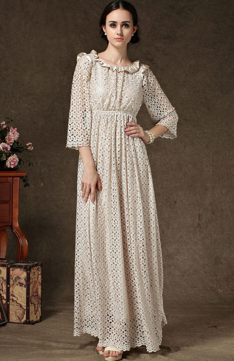 Apricot long sleeve hollow lace maxi dress us i wish the world