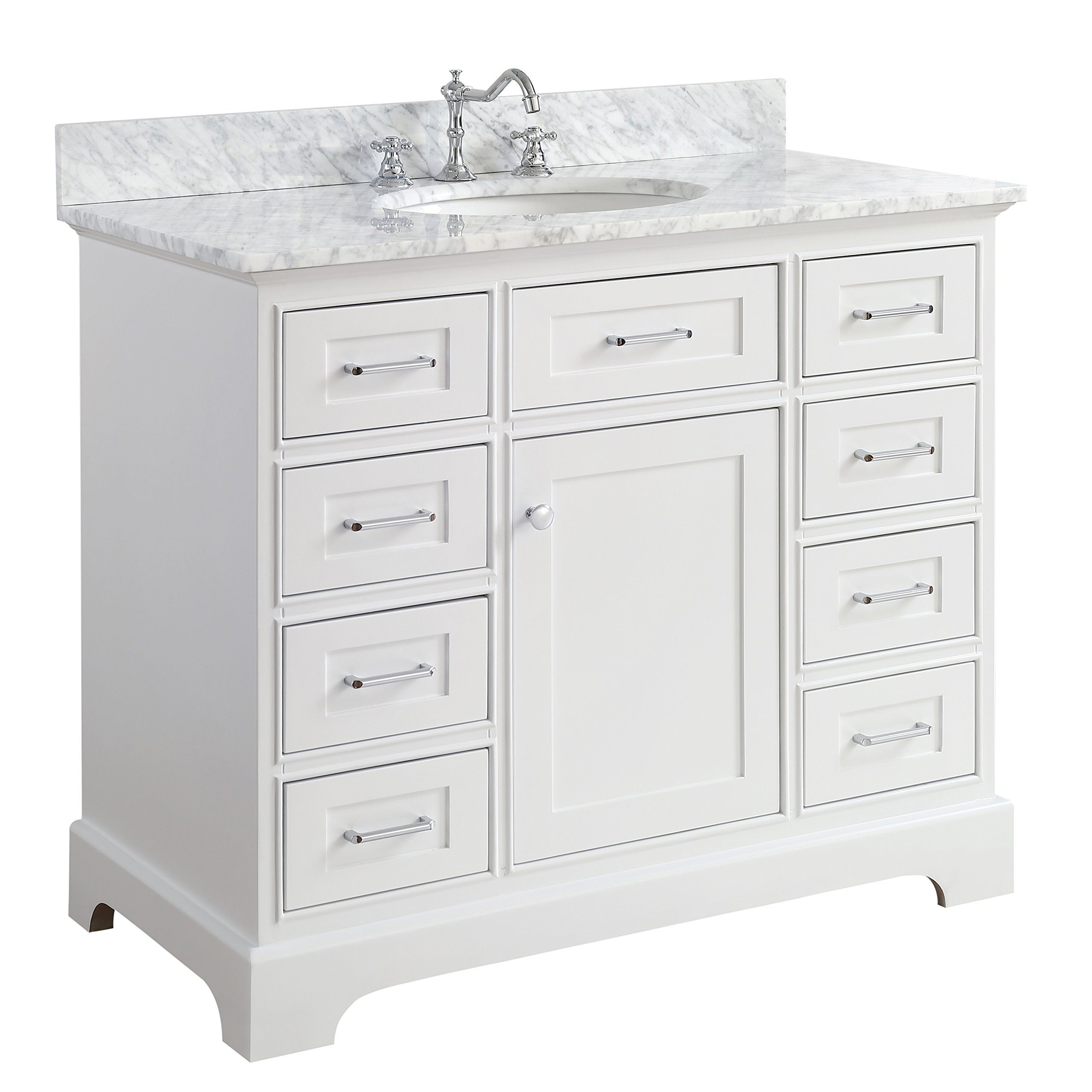 Aria 42 inch Bathroom Vanity Carrara White Includes a White