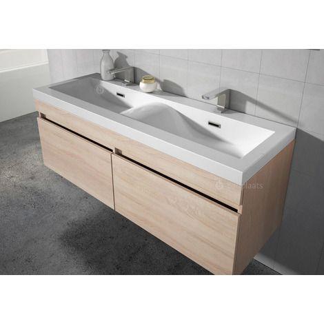 Badezimmer Badm?bel Avellino 120 Cm Eiche Hell   Unterschrank Schrank  Waschbecken Waschtisch