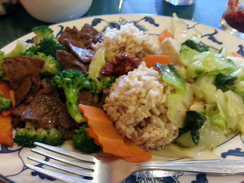 Faux Beef Broccoli and Faux fish veggies at completely all Buddhist Veg, Vegi Land in Mountain View CA