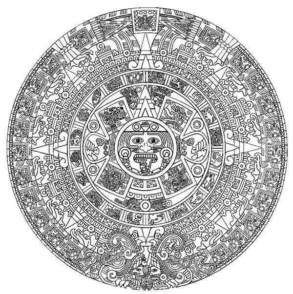 The Aztec Sun Stone Coloring Pages Aztec Calendar Aztec Art Aztec Symbols