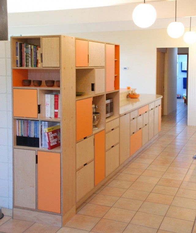 Kerf design under stair interiors plywood kitchen - Affordable interior design seattle ...