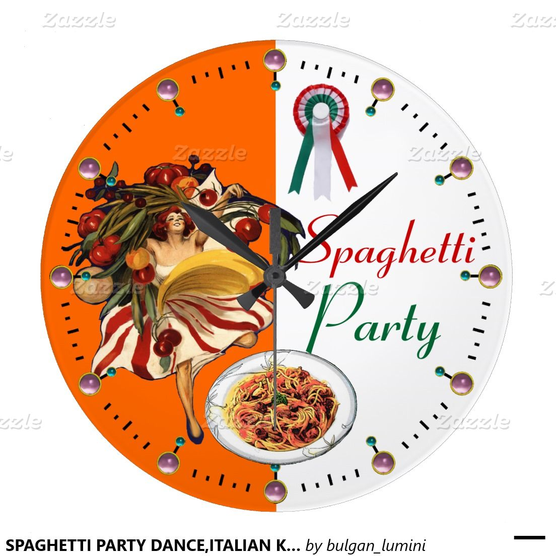 Spaghetti party danceitalian kitchen and tomatoes large clock