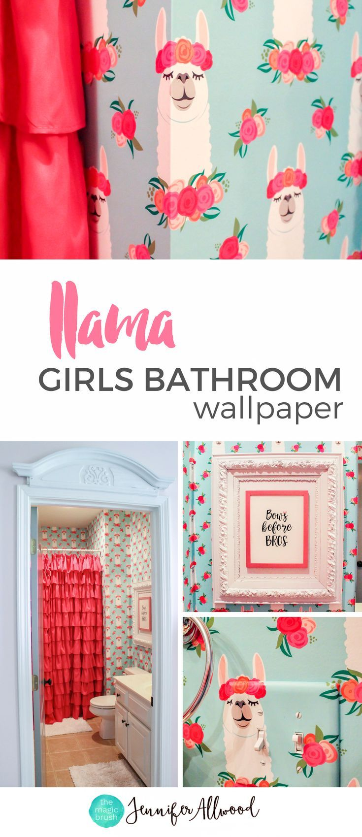 Here's an adorable way to decorate a girl's bathroom with llama wallpaper and a long ruffle shower curtain by Jennifer Allwood | Girls Curtain Ideas | Ruffle Pink Shower Curtain Curtain | Girls Window Treatments | Llama Decor | Girls Bathroom Decorating I