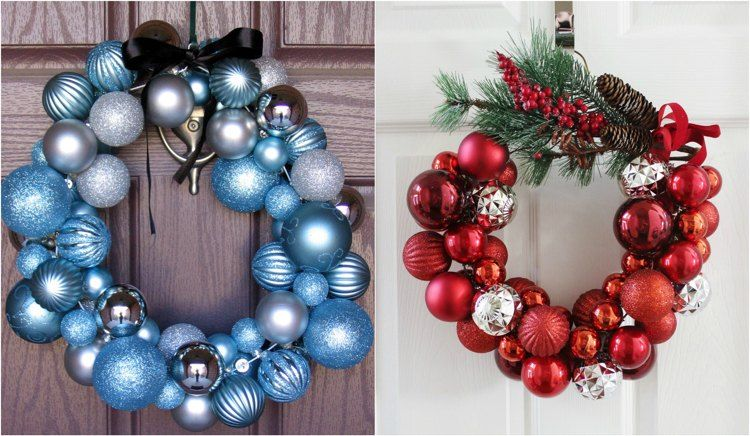 t rkranz aus weihnachtskugeln und drahtkleiderb gel weihnachten. Black Bedroom Furniture Sets. Home Design Ideas