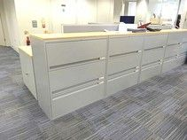 'Maine' 3-drawer metal side-filing units with beech tops. Excellent condition.
