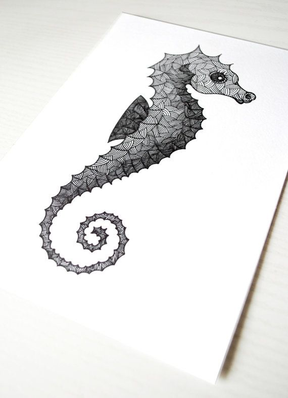 Seahorse Illustration by silbck on Etsy