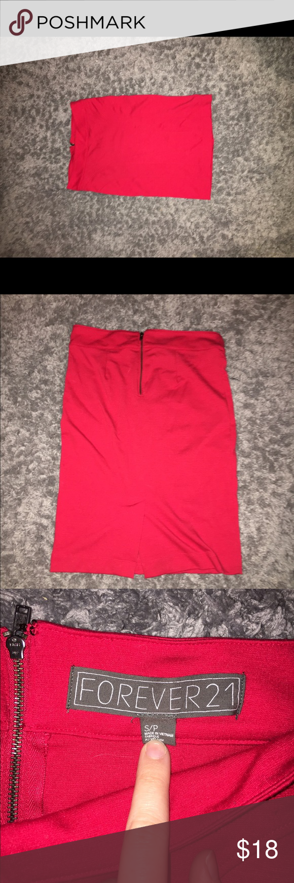 Red Forever 21 Pencil Skirt Peres pencil skirt perfect for any formal occasion. Comes just above the knees. Zips up in the back. Only worn a couple times. Forever 21 Skirts Pencil