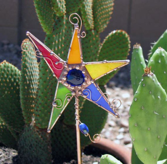 stained glass garden stakes patterns | Stained Glass Star Plant Stake Garden Art…
