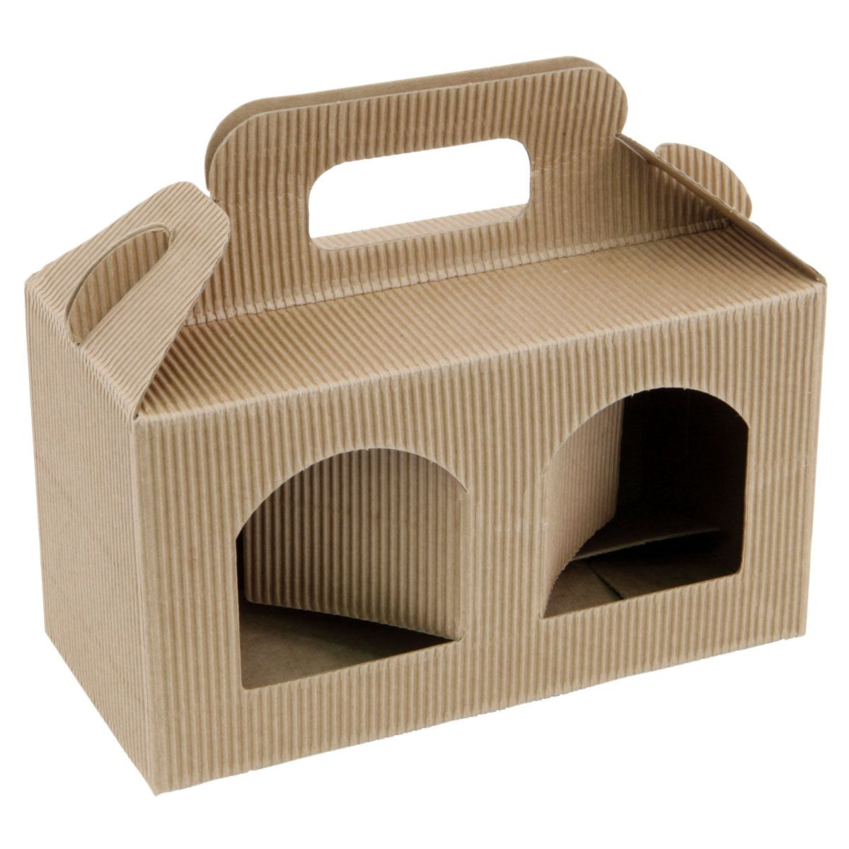 Small 2 jar carton - Natural Fluted with Windows - WBC: http://www.wbc.co.uk/2-small-jar-kraft-carton-with-windows-95mm-high?sc=64&category=93456 60p each