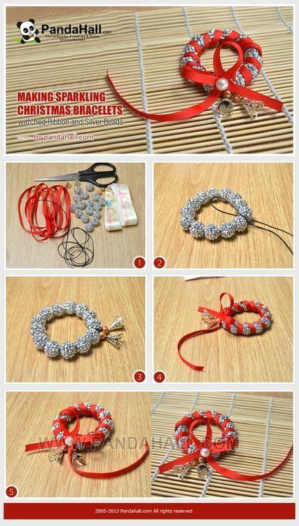 Jewelry Making Tutorial-DIY Sparkling Christmas Bracelets with Red Ribbon and Rhinestone Beads | PandaHall Beads Jewelry Blog