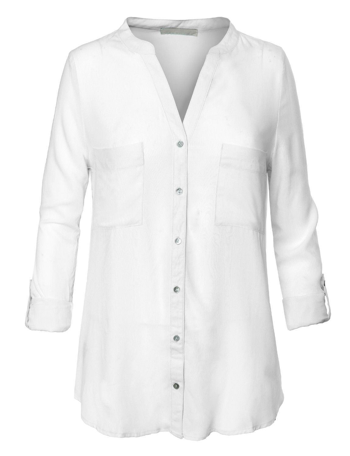 Le3no womens lightweight v neck collarless button down for Womens white button down shirt