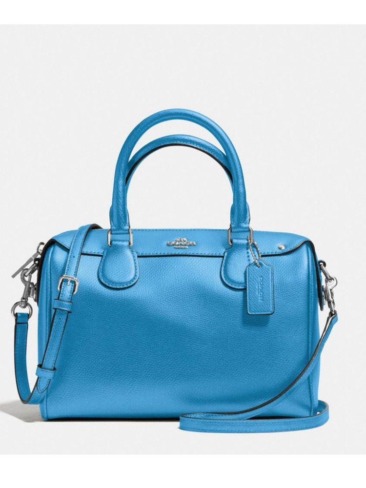 c2af278a77d Coach Pebbled Leather Mini Bennett Satchel Shoulder Bag Crossbody Azure Blue   Coach  Satchel
