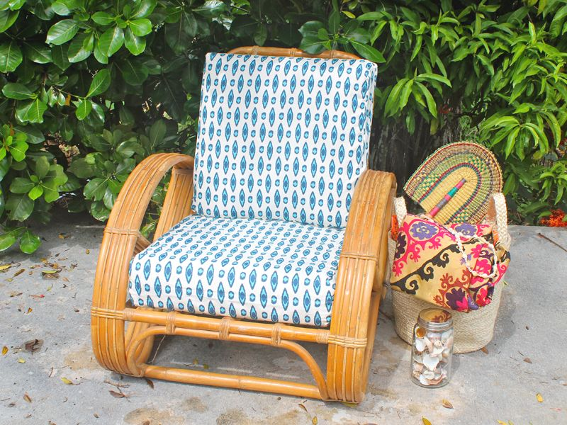 Koa Rattan Cushion Cover Surfboard Print Virginia Paresa Hawaii