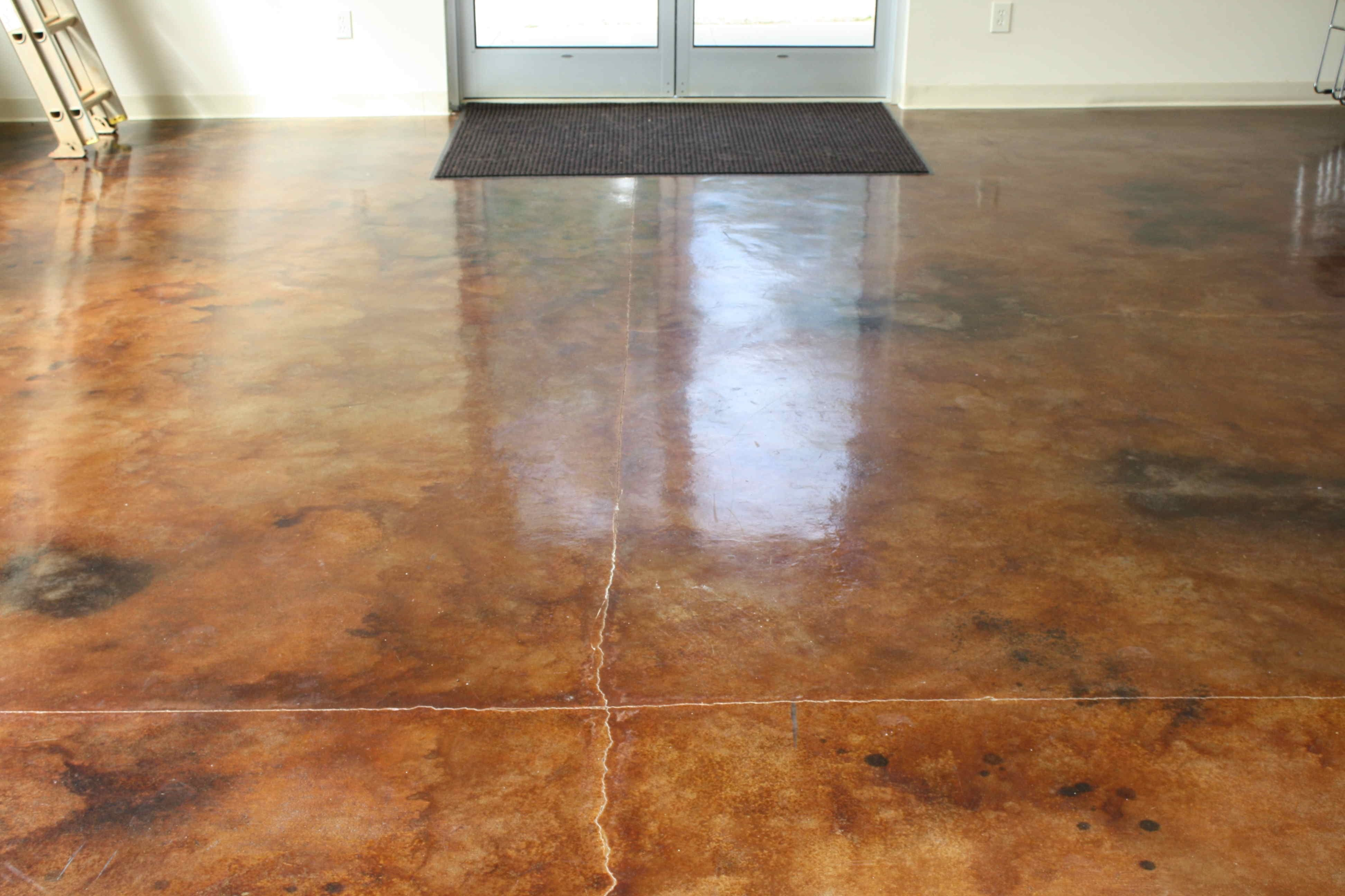 Coffee Brown Acid Stain Diluted Sealed With Ac1315 High Gloss Sealer